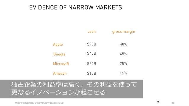 88 Google Apple Microsoft Amazon $98B $45B $52B $10B cash 40% gross margin 65% 78% 14% EVIDENCE OF NARROW MARKETS 17 http:...