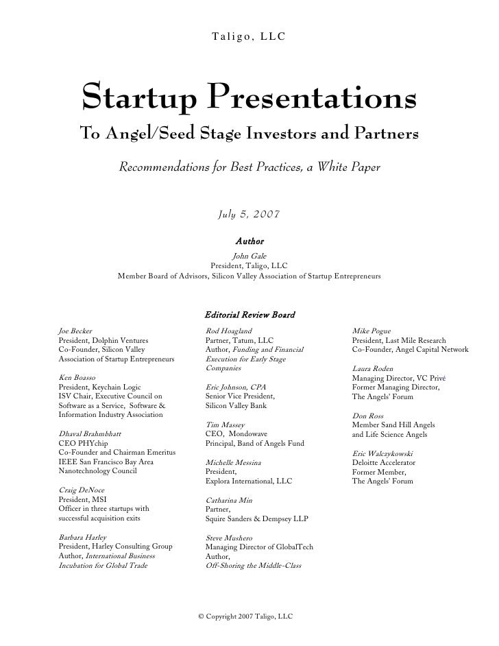 Startup presentations to angel seed stage investors and for Investor term sheet template
