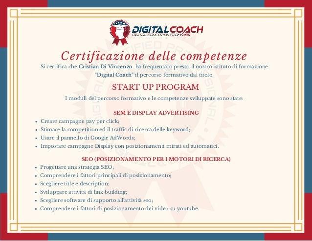 Certificazione delle competenze Si certifica cheCristian Di Vincenzoha frequentato presso il nostro istituto di formazi...