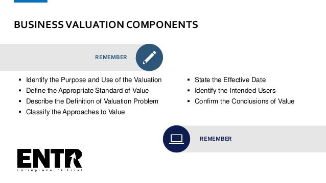 BUSINESSVALUATION COMPONENTS REMEMBER  Identify the Purpose and Use of the Valuation  Define the Appropriate Standard of...