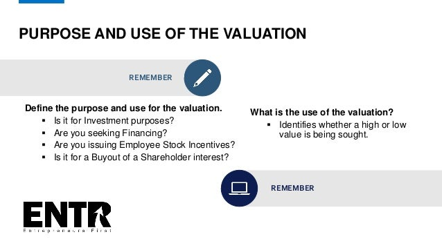 PURPOSE AND USE OF THE VALUATION REMEMBER Define the purpose and use for the valuation.  Is it for Investment purposes? ...