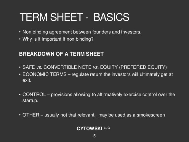 Deciphering Safe Convertible Notes Term Sheets