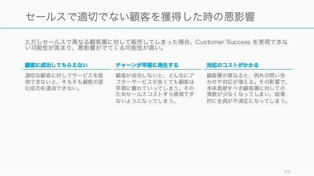 ただしセールスで異なる顧客層に対して販売してしまった場合、Customer Success を実現できな い可能性が高まり、悪影響がでてくる可能性が高い。 55 セールスで適切でない顧客を獲得した時の悪影響 顧客に成功してもらえない 適切な顧客...