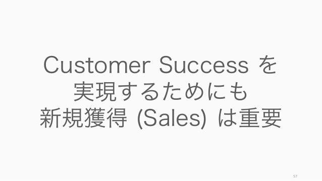 57 Customer Success を 実現するためにも 新規獲得 (Sales) は重要