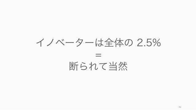76 イノベーターは全体の 2.5% = 断られて当然