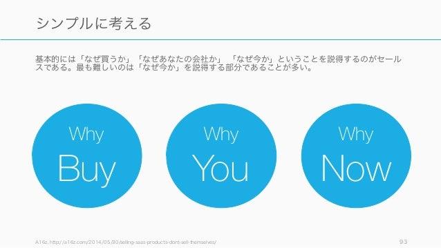 基本的には「なぜ買うか」「なぜあなたの会社か」 「なぜ今か」ということを説得するのがセール スである。最も難しいのは「なぜ今か」を説得する部分であることが多い。 A16z, http://a16z.com/2014/05/30/selling-...