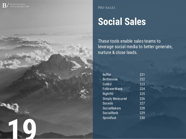 Startup Sales Stack Report 2017