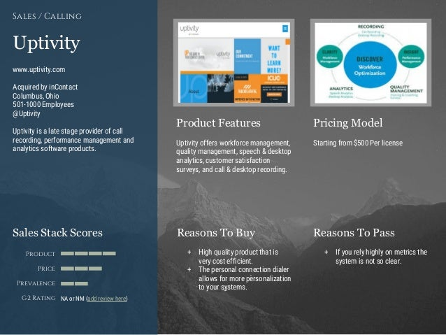 Product Features Pricing Model Reasons To Buy Reasons To PassSales Stack Scores Product Price Prevalence G2 Rating [Paste ...