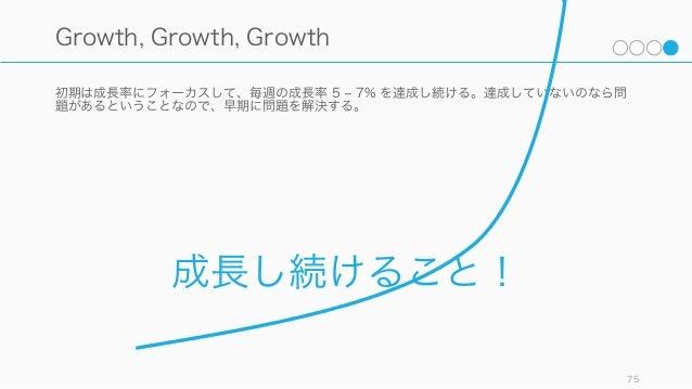 初期は成長率にフォーカスして、毎週の成長率 5 ‒ 7% を達成し続ける。達成していないのなら問 題があるということなので、早期に問題を解決する。 75 Growth, Growth, Growth 成長し続けること!