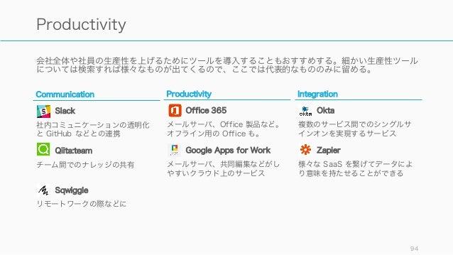 会社全体や社員の生産性を上げるためにツールを導入することもおすすめする。細かい生産性ツール については検索すれば様々なものが出てくるので、ここでは代表的なもののみに留める。 94 Productivity Communication Slack...