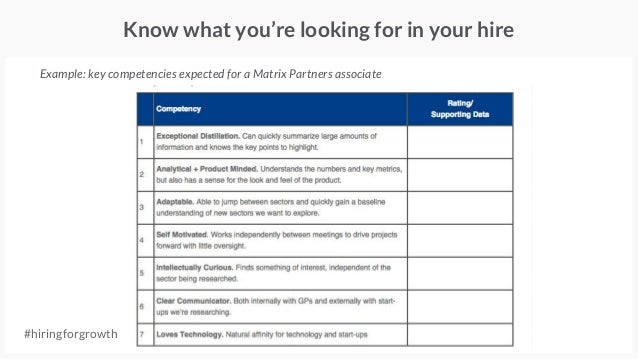 Know what you're looking for in your hire Example: key competencies expected for a Matrix Partners associate #hiringforgro...