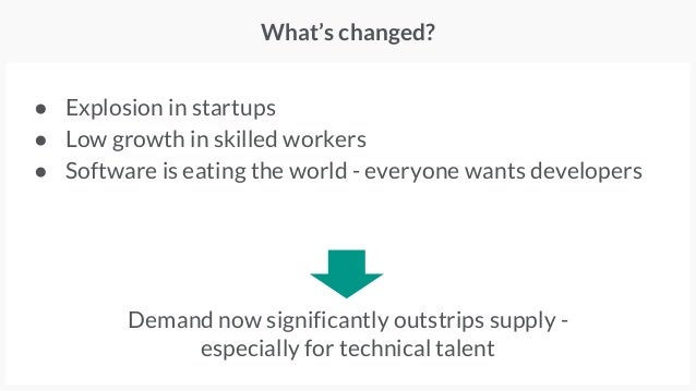 ● Explosion in startups ● Low growth in skilled workers ● Software is eating the world - everyone wants developers What's ...