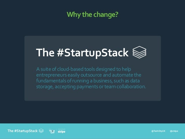 @TechCityUK @stripe In partnership withFrom The #StartupStack Whythechange? Asuiteofcloud-basedtoolsdesignedtohelp entrepr...