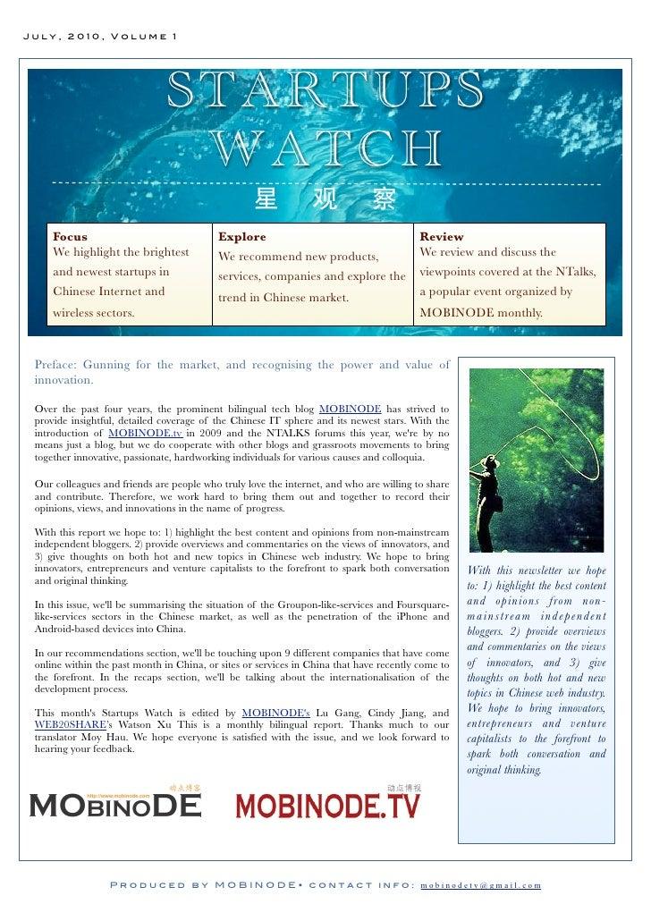 July, 2010, Volume 1                                    STARTUPS                                 WATCH      Focus         ...