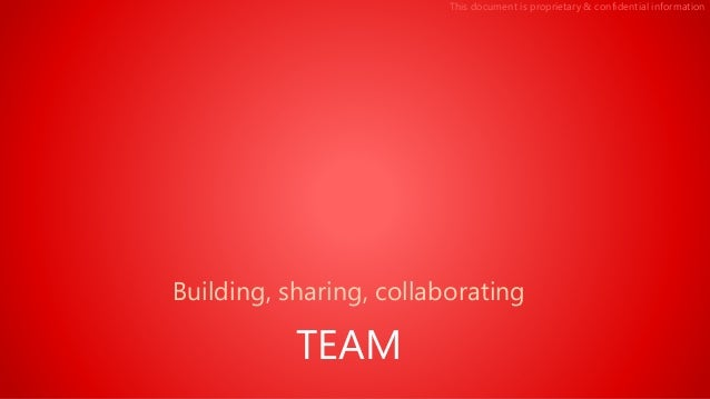 This document is proprietary & confidential information Building, sharing, collaborating TEAM