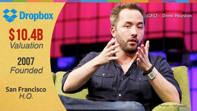 Photograph by Tristan Fewings — Getty Images $10.4B Valuation 2007 Founded San  Francisco   H.O. CEO - Drew Houston