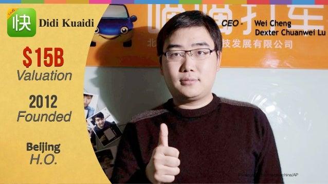 Photograph by Imaginechina/AP $15B Valuation CEO - Wei Cheng Dexter Chuanwei Lu 2012 Founded Beijing   H.O. Didi Kuaidi