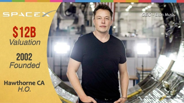 Photograph by Benjamin Lowy — Getty Images/Fortune $12B Valuation 2002 Founded Hawthorne  CA   H.O. CEO - Elon Musk