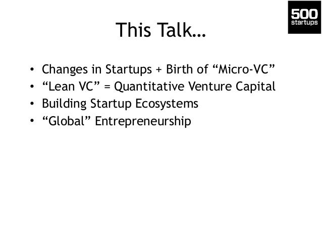 Building Startup Ecosystems & The Rise of Micro-VCs Slide 2