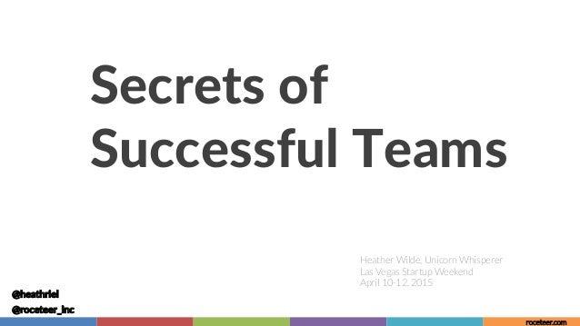 Secrets of  Successful Teams  Heather Wilde, Unicorn Whisperer Las Vegas Startup Weekend April 10-12, 2015 @heathriel ...