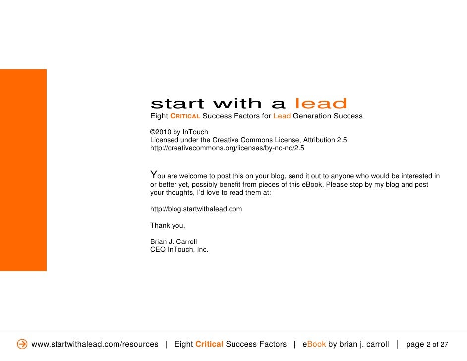 Ebook: Start With a Lead: Eight CRITICAL Success Factors for Lead Generation Slide 2