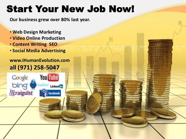 Start Your New Job Now!Our business grew over 80% last year.• Web Design Marketing• Video Online Production• Content Writi...