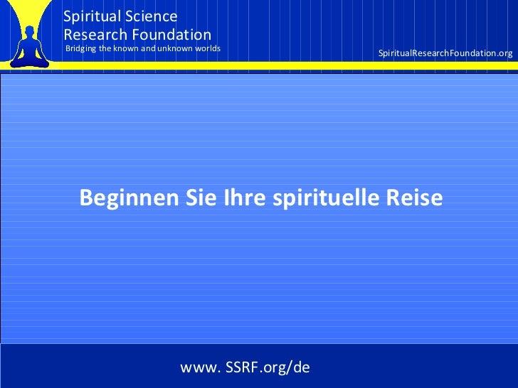 Cover Beginnen Sie Ihre spirituelle Reise www. SSRF.org/de