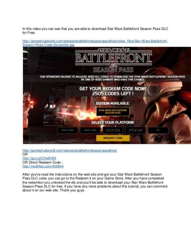 Star wars battlefront season pass dlc codes leaked tutorial