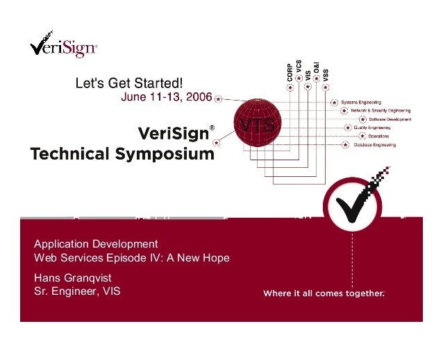 Application Development Web Services Episode IV: A New Hope Hans Granqvist Sr. Engineer, VIS Application Development Web S...