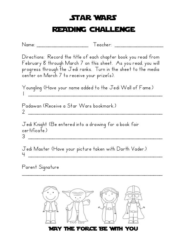 Star WARS             READiNG challengeName: _________________ Teacher: ________________Directions: Record the title of ea...