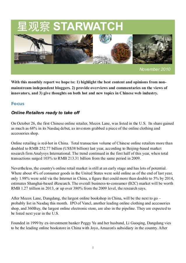 推荐 1 星观察 STARWATCH November 2010 With this monthly report we hope to: 1) highlight the best content and opinions from non-...