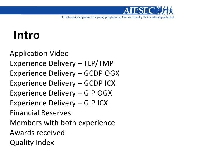 IntroApplication VideoExperience Delivery – TLP/TMPExperience Delivery – GCDP OGXExperience Delivery – GCDP ICXExperience ...