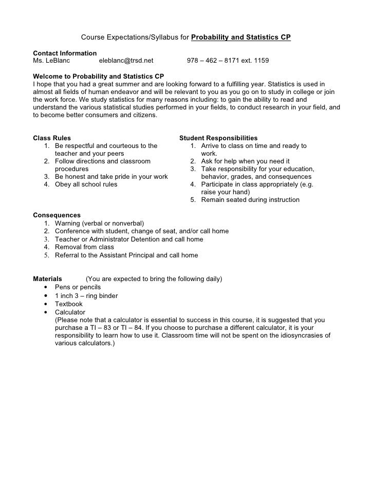Course Expectations/Syllabus for Probability and Statistics CPContact InformationMs. LeBlanc         eleblanc@trsd.net    ...