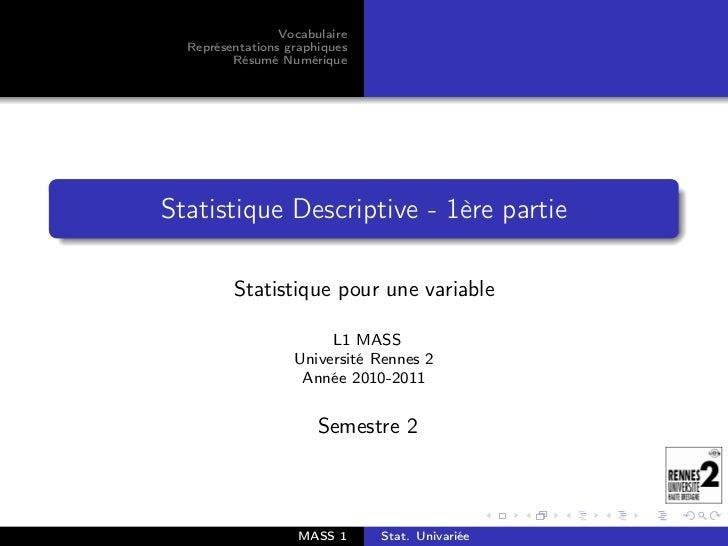 Vocabulaire  Représentations graphiques         Résumé NumériqueStatistique Descriptive - 1ère partie         Statistique ...