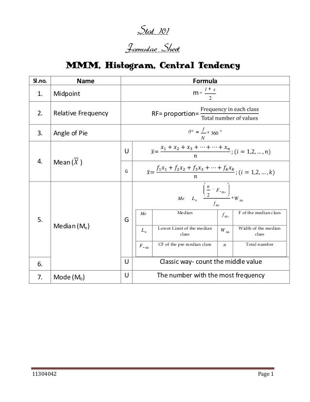 Stat 101 Formulae Sheet MMM, Histogram, Central Tendency Name  Sl.no.  1.  Relative Frequency  3.  l  m  Midpoint  2.  For...