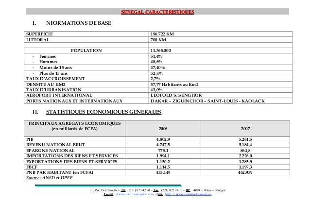 SENEGALSENEGAL CARACTERISTIQUESCARACTERISTIQUESI. NFORMATIONS DE BASESUPERFICIE 196.722 KMLITTORAL 700 KMPOPULATION 11.365...