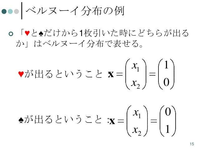 ベルヌーイ分布の例   「♥と♠だけから1枚引いた時にどちらが出る か」はベルヌーイ分布で表せる。  x ♥が出るということ:  ♠が出るということ: x  x1  1  x2  0  x1  0  x2  1 15