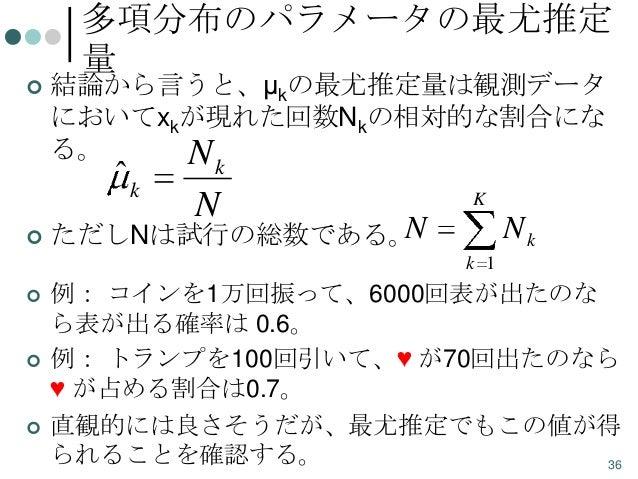 多項分布のパラメータの最尤推定 量    結論から言うと、μkの最尤推定量は観測データ においてxkが現れた回数Nkの相対的な割合にな る。 N  ˆk    k  N  K  N ただしNは試行の総数である。  Nk k 1     ...