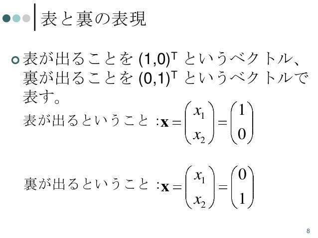 表と裏の表現  表が出ることを  (1,0)T というベクトル、 裏が出ることを (0,1)T というベクトルで 表す。 x1 1 表が出るということ: x x2 0 裏が出るということ: x  x1  0  x2  1 8