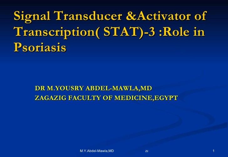 Signal Transducer &Activator of Transcription( STAT)-3 :Role in Psoriasis <ul><li>DR M.YOUSRY ABDEL-MAWLA,MD </li></ul><ul...