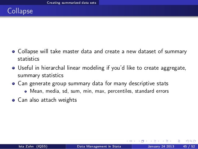 Data management in Stata