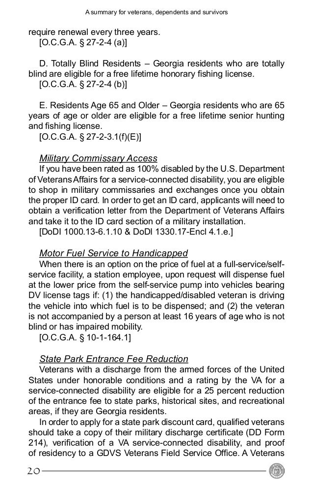 Benefits from the state of georgia for veterans for Renew ga fishing license