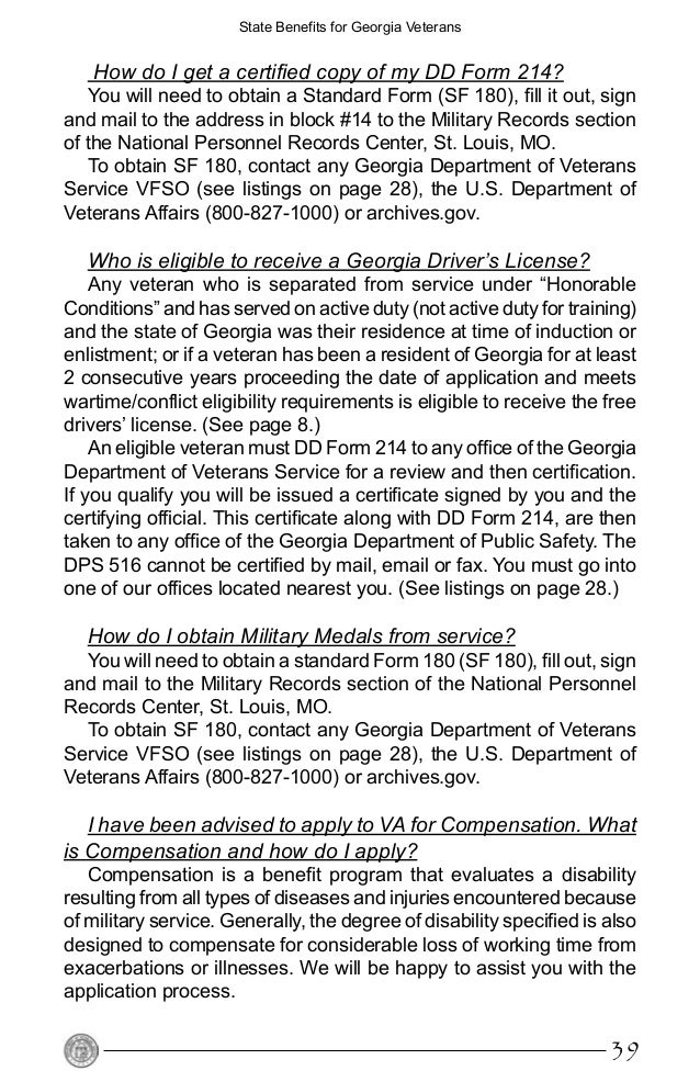 Benefits From The State Of Georgia For Veterans