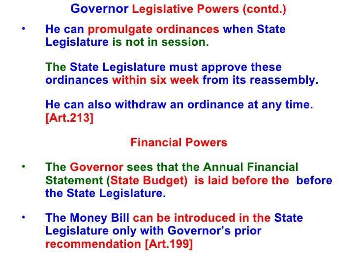 powers of governor
