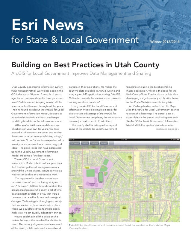 Building on Best Practices in Utah CountyArcGIS for Local Government Improves Data Management and SharingUtah County geogr...