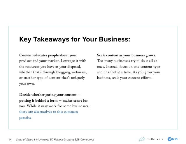 State of Sales & Marketing: 50 Fastest-Growing B2B Companies14 Key Takeaways for Your Business: Content educates people ab...