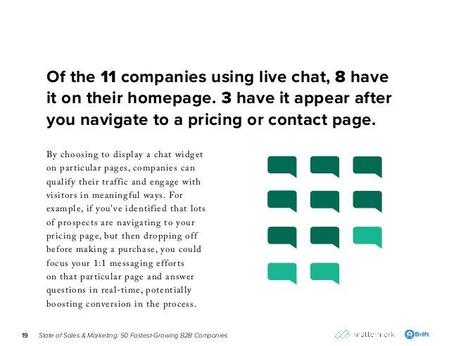State of Sales & Marketing: 50 Fastest-Growing B2B Companies19 By choosing to display a chat widget on particular pages, c...