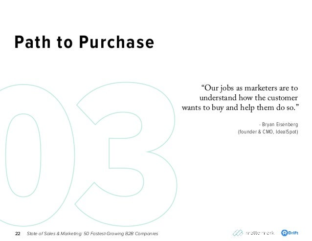 "State of Sales & Marketing: 50 Fastest-Growing B2B Companies22 Path to Purchase ""Our jobs as marketers are to understand h..."