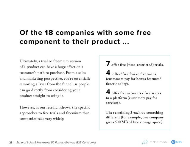 "State of Sales & Marketing: 50 Fastest-Growing B2B Companies28 7 offer free (time-restricted) trials. 4 offer ""free foreve..."
