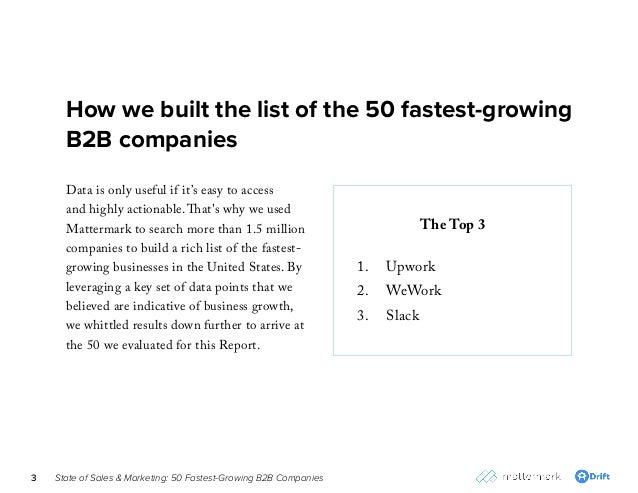 State of Sales & Marketing: 50 Fastest-Growing B2B Companies3 How we built the list of the 50 fastest-growing B2B companie...